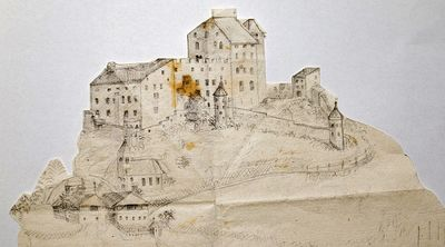 Paper drawing Heinfels Castle